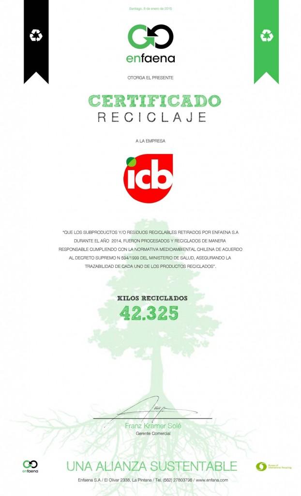 Certificado reciclaje 2014